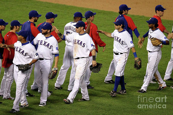Playoffs Art Print featuring the photograph New York Yankees V Texas Rangers, Game 2 by Ronald Martinez