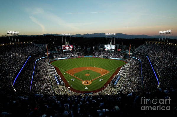American League Baseball Art Print featuring the photograph Nlcs - Chicago Cubs V Los Angeles by Josh Lefkowitz