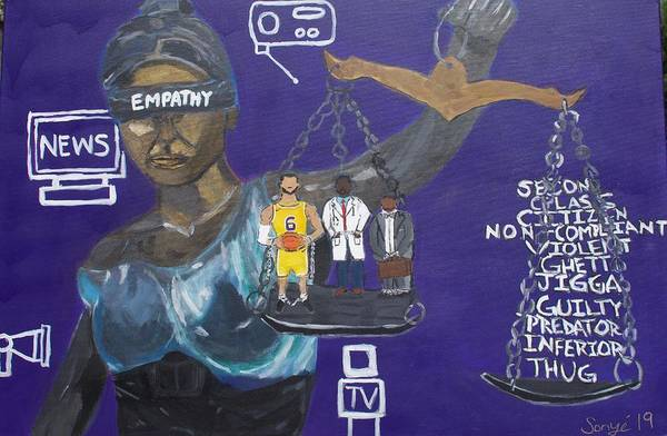 Inequality Art Print featuring the painting No Empathy by Sonye Locksmith