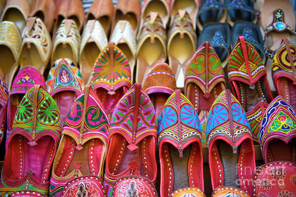 Jaisalmer Art Print featuring the photograph Numerous Colorful Embroidered Shoes by Tarzan9280