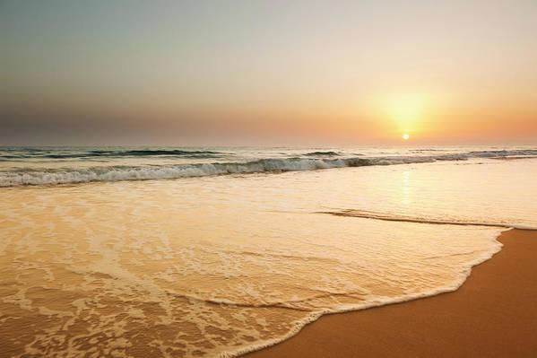 Water's Edge Art Print featuring the photograph Ocean Beach Sunset Landscape View by Fernandoah
