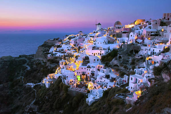 Greek Culture Art Print featuring the photograph Oia Lights At Sunset by Greg Gibb Photography