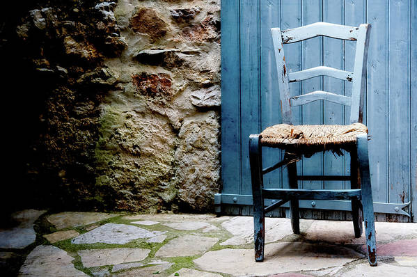 Damaged Art Print featuring the photograph Old Blue Wooden Caned Seat Chair At by Alexandre Fp