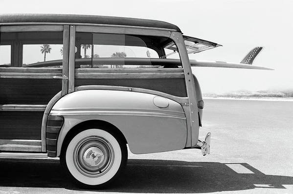 1950-1959 Art Print featuring the photograph Old Woodie Station Wagon With Surfboard by Skodonnell
