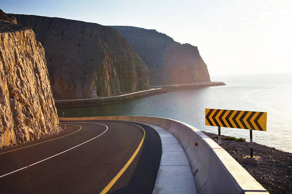 Curve Art Print featuring the photograph Oman, Khasab, Road Round Mountain By by Christian Adams