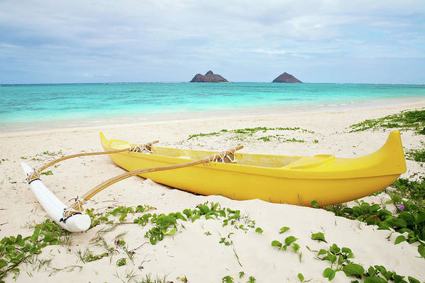 Scenics Art Print featuring the photograph Outrigger Canoe Lanikai Beach by M Swiet Productions
