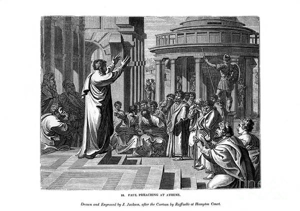 Engraving Art Print featuring the drawing Paul Preaching At Athens, 1843.artist J by Print Collector
