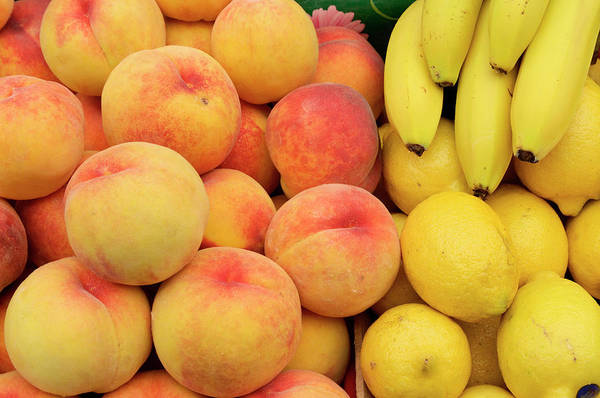 Retail Art Print featuring the photograph Peaches, Lemons And Bananas At Farmers by Travelif