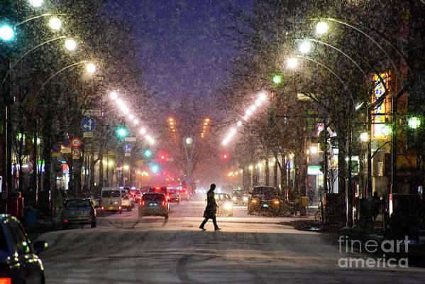 Hokkaido Art Print featuring the photograph Pedestrian Silhouette In Sapporo by Sergio Amiti