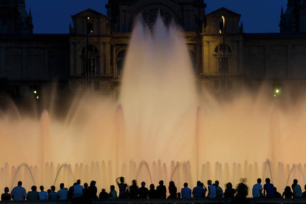 Palace Of Montjuic Art Print featuring the photograph People Watching Fountain, Palace Of by Peter Adams