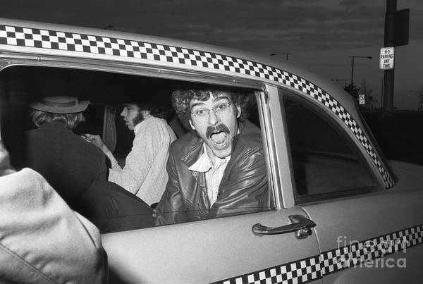 People Art Print featuring the photograph Phil Jackson In Taxi by Bettmann