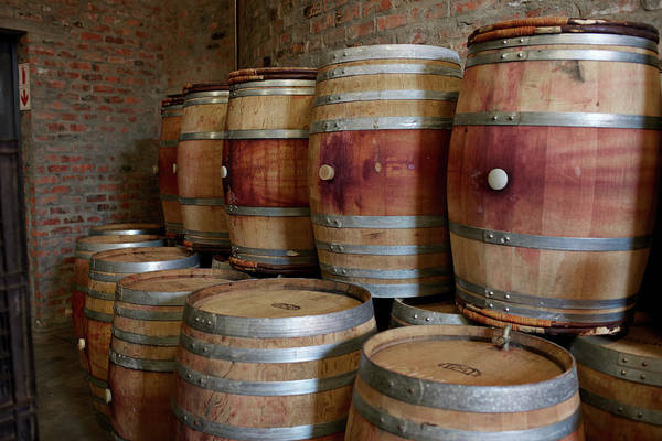 Stellenbosch Art Print featuring the photograph Pile Of Wooden Barrels At Winery by Klaus Vedfelt