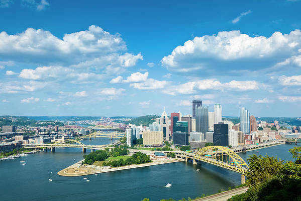 Arch Art Print featuring the photograph Pittsburgh, Pennsylvania Skyline With by Drnadig