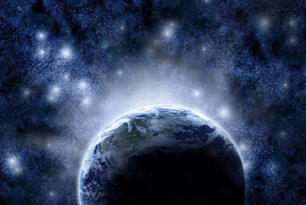 Outdoors Art Print featuring the digital art Planet Earth And Stars by Nicholas Monu