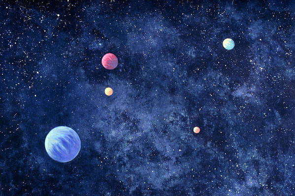 The Media Art Print featuring the photograph Planets In Solar System by Huntstock