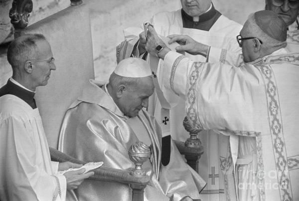 Mature Adult Art Print featuring the photograph Pope John Paul II Receiving Pallium by Bettmann