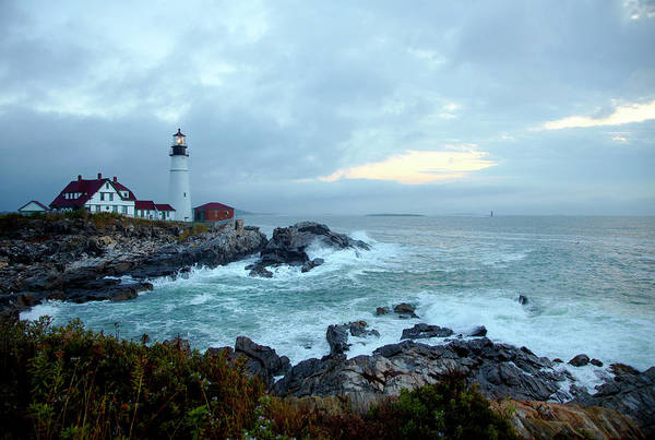 Dawn Art Print featuring the photograph Portland Head Lighthouse At Sunrise by Thomas Northcut