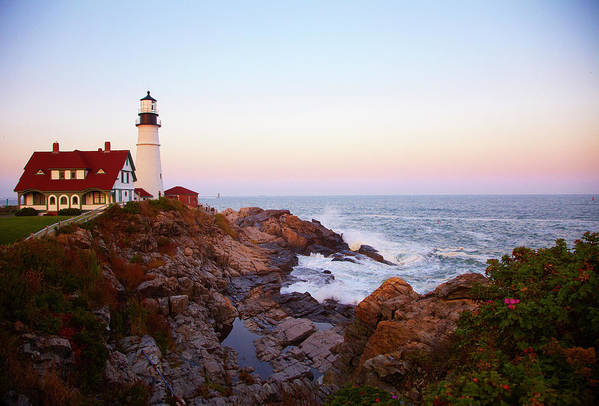 Scenics Art Print featuring the photograph Portland Head Lighthouse At Sunset by Thomas Northcut