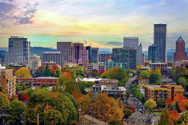 Viewpoint Art Print featuring the photograph Portland Oregon Downtown Cityscape In by David Gn Photography