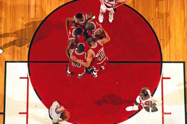 Nba Pro Basketball Art Print featuring the photograph Portland Trailblazers Vs. Chicago Bulls by Brian Drake