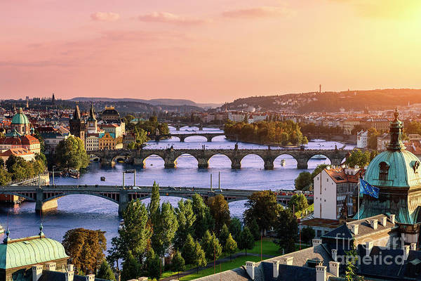 Old Town Art Print featuring the photograph Prague, Over View Of City And River by Sylvain Sonnet