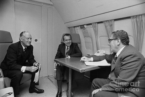 Advice Art Print featuring the photograph Pres. Nixon Aboard Air Force One by Bettmann
