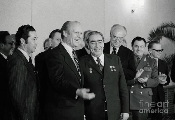 Leonid Brezhnev Art Print featuring the photograph President Ford And General Secretary by Bettmann
