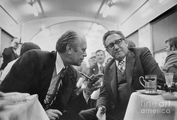 Mature Adult Art Print featuring the photograph President Ford Discussing Progress by Bettmann