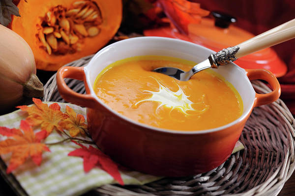 Event Art Print featuring the photograph Pumpkin Soup In Skew With Creme Fraiche by Moncherie