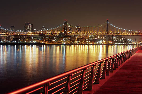 Built Structure Art Print featuring the photograph Queensboro Bridge At Night by Allan Baxter