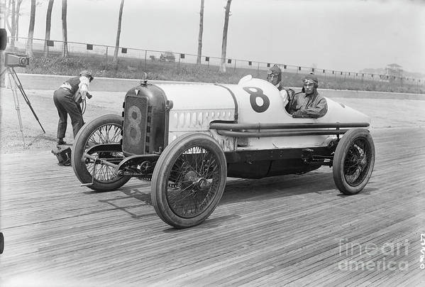 People Art Print featuring the photograph Racecar At Sheepshead Bay Track by Bettmann