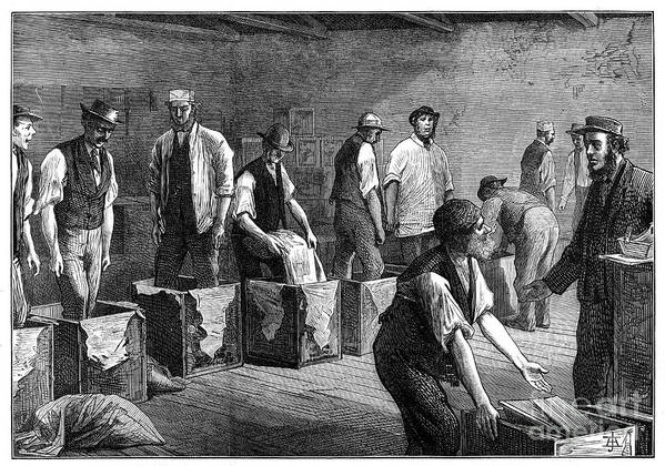 Working Art Print featuring the drawing Refilling Chests In A Tea Warehouse by Print Collector