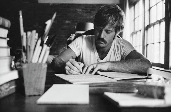 Timeincown Art Print featuring the photograph Robert Redford Writing At Desk by John Dominis