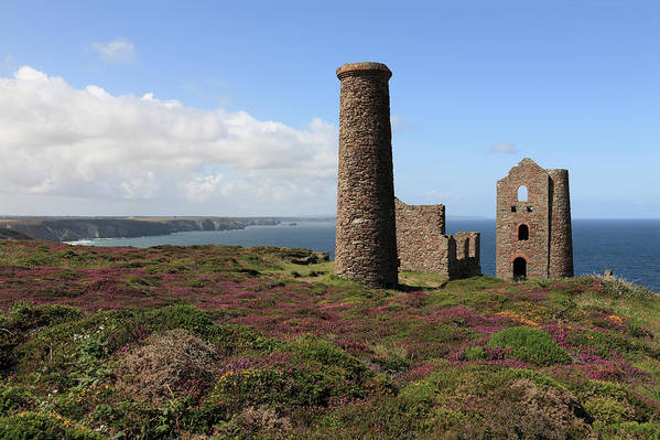 Heather Art Print featuring the photograph Ruin Of Wheal Coates Tin Mine, Near St by Anthony Collins