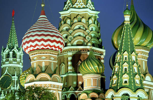 Travel14 Art Print featuring the photograph Russia, Moscow, Red Square, St Basils by Peter Adams