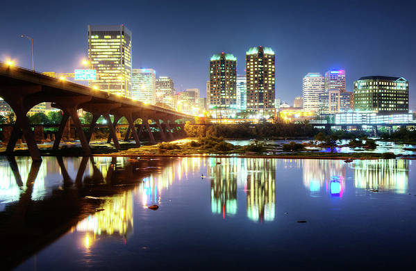 Tranquility Art Print featuring the photograph Rva Summer Night - Richmond Va On The by Sky Noir Photography By Bill Dickinson