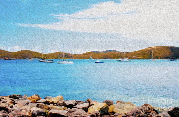 Eastern Caribbean Art Print featuring the digital art Sailboat Adventure in San Juan Puerto Rico by Kenneth Montgomery