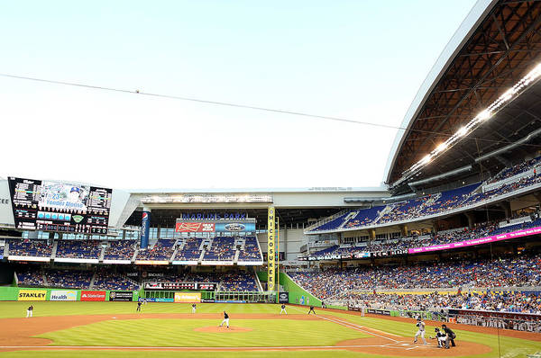 American League Baseball Art Print featuring the photograph San Diego Padres V Miami Marlins by Marc Serota