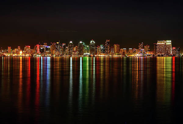 California Art Print featuring the photograph San Diego Skyline From Harbor Island by David Toussaint