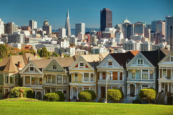 San Francisco Art Print featuring the photograph San Francisco Postcard Row Skyline by Pgiam