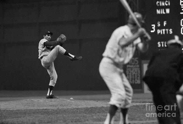 Sandy Koufax Art Print featuring the photograph Sandy Koufax Pitching During Baseball by Bettmann