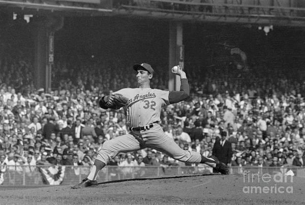 Sandy Koufax Art Print featuring the photograph Sandy Koufax Pitching In World Series by Bettmann