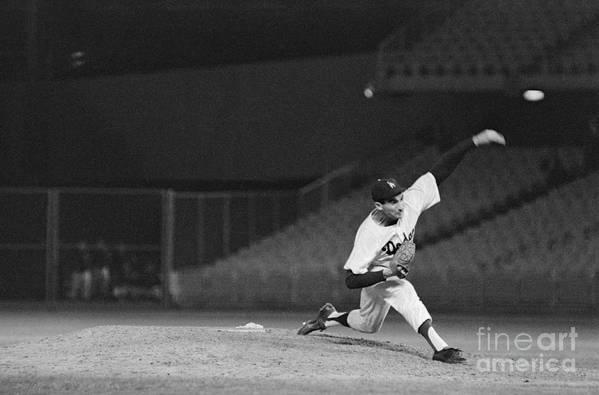 Sandy Koufax Art Print featuring the photograph Sandy Koufax Throwing A Pitch by Bettmann
