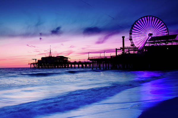 Commercial Dock Art Print featuring the photograph Santa Monica Pier With Ferris Wheel by Pawel.gaul