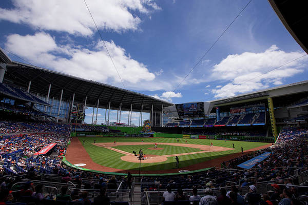 Florida Art Print featuring the photograph Seattle Mariners V Miami Marlins by Rob Foldy