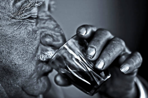 People Art Print featuring the photograph Senior Man Drinking Wine by Nasos Zovoilis