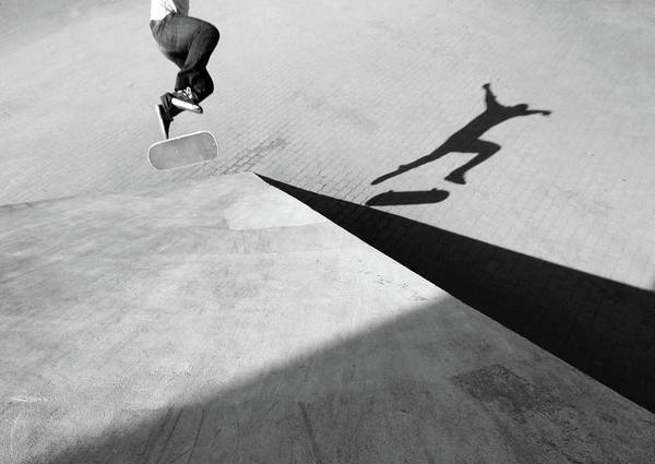 Shadow Art Print featuring the photograph Shadow Of Skateboarder by Mgs