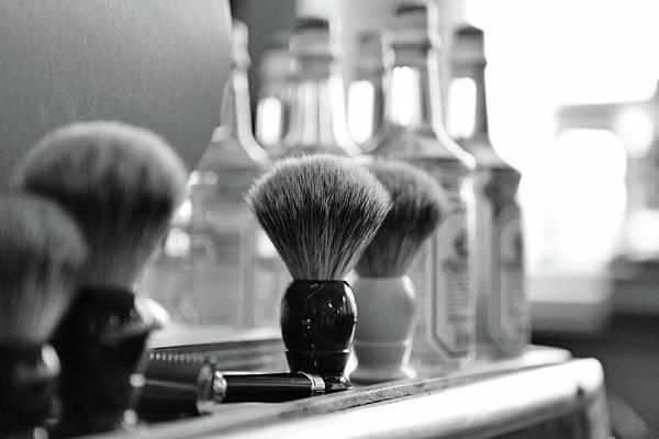 Office Art Print featuring the photograph Shaving Brushes At Barbershop by Lorado