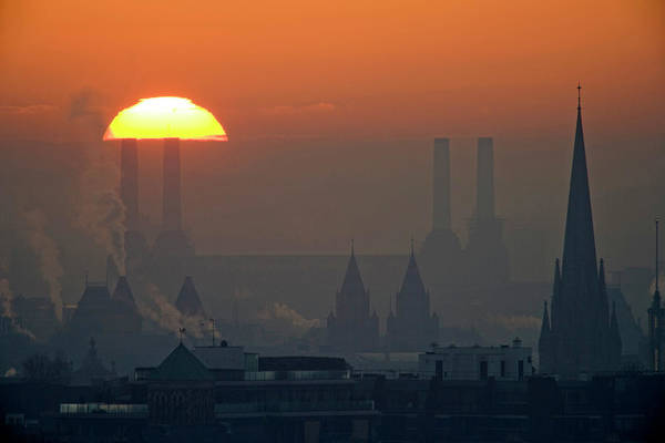 Tranquility Art Print featuring the photograph Silhouettes Of Chimneys And Spires by James Burns