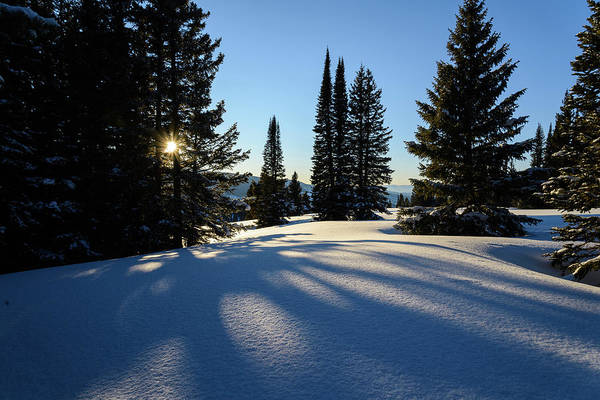Scenics Art Print featuring the photograph Snowy Mountain Scenic Landscape by Adventure photo